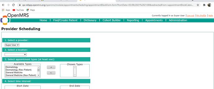 Openmrs test server provider scheduling 2