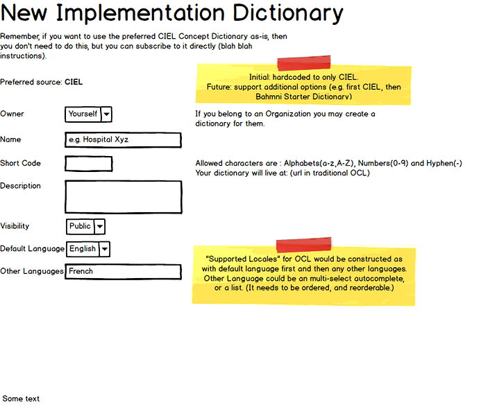 New Implementation Dictionary