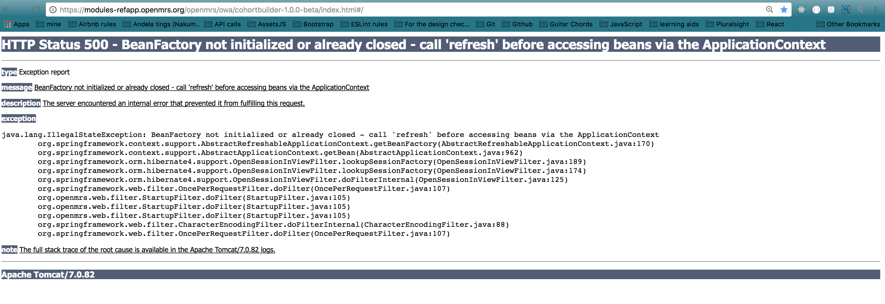 Server Error When trying to access the Modules-refapp - Ask