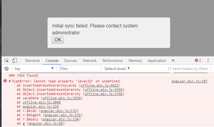 Bahmni Connect (0 89) : Initial sync failed error