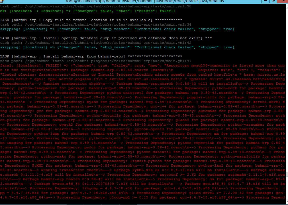 java issue while bahmni installation process - Bahmni