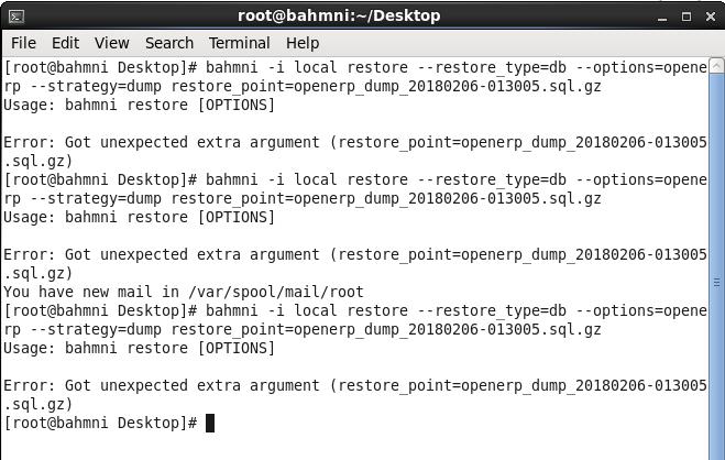 bahmni restore error