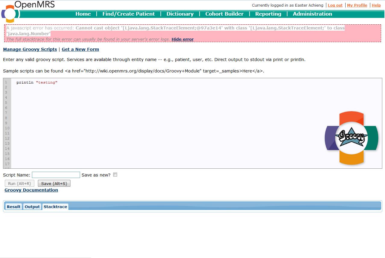 Groovy A javascript error has occurred: [Ljava lang