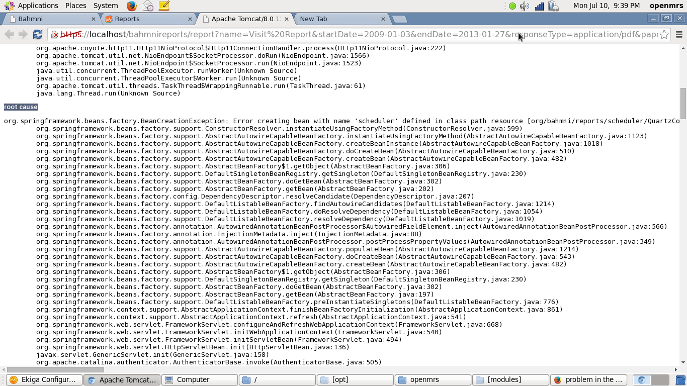 problem in the report application in Bahmni EMR  - Bahmni - OpenMRS Talk