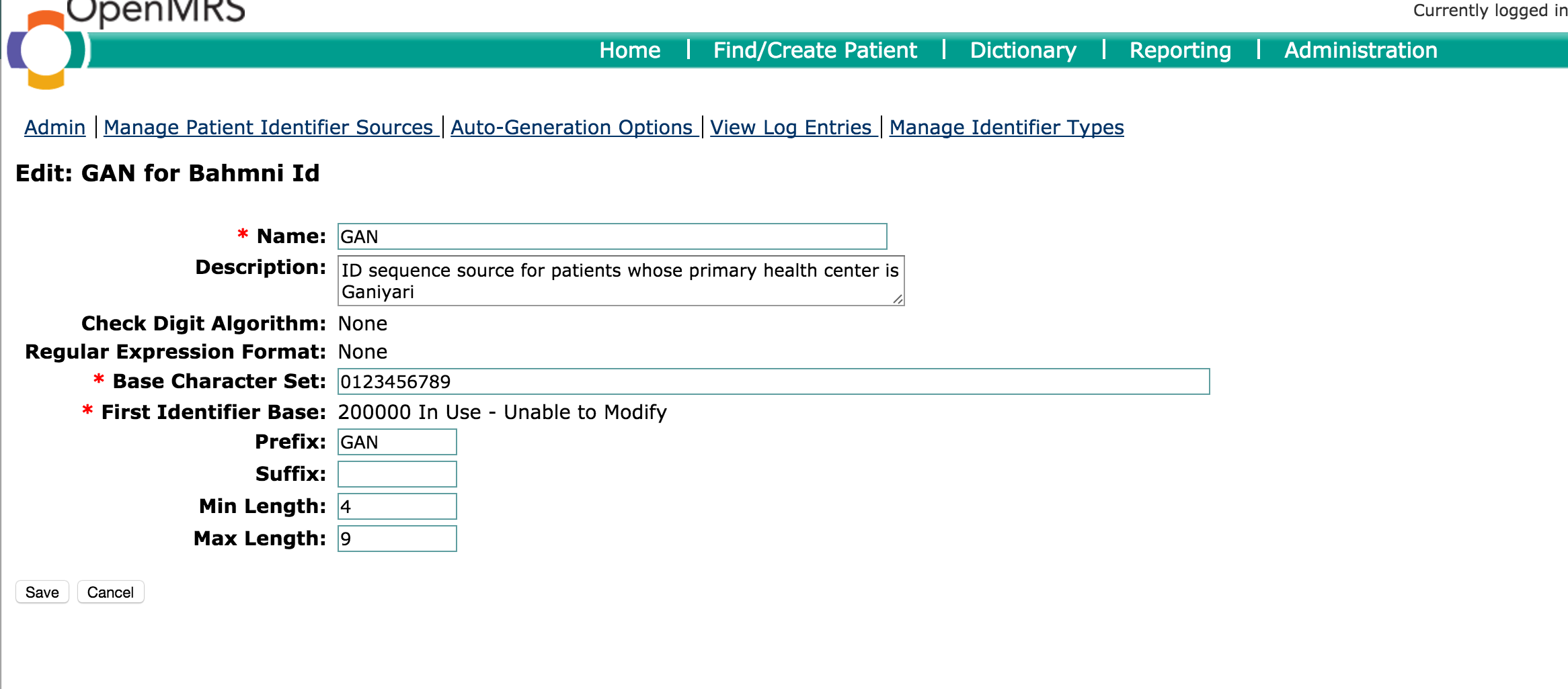 bugs with creating patient identifier number bahmni openmrs talk