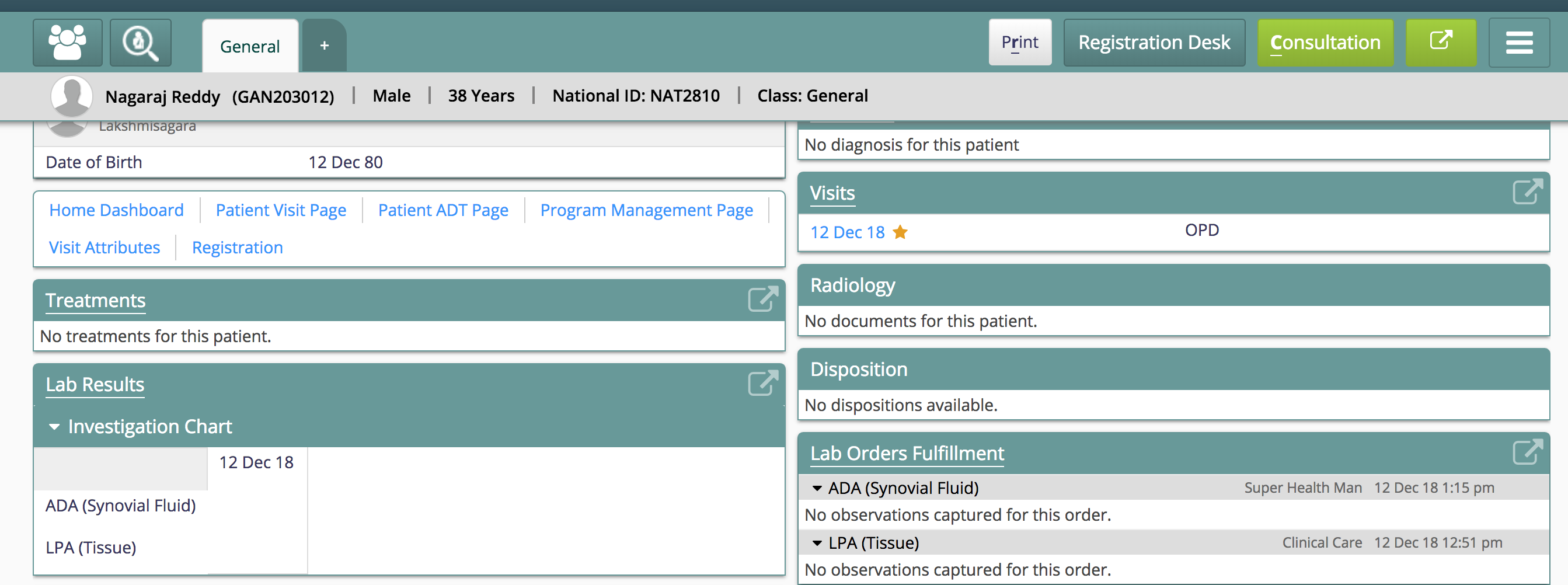 lab order result in ELIS don't show up in patient dashboard