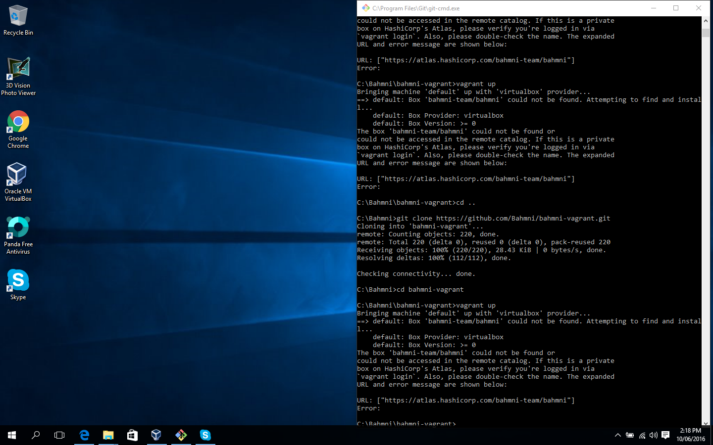Unable to download Vagrant box - cannot find box error (windows 10